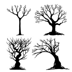 Set of halloween tree . Dead tree from vector.Scary tree in halloween day.Halloween tree by hand drawing.Black tree on white background.