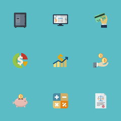 Flat Icons Moneybox, Accounting System, Profit And Other Vector Elements. Set Of Recording Flat Icons Symbols Also Includes Algebra, Profit, Act Objects.