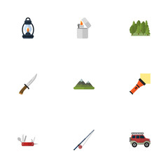 Flat Icons Hill, Lighter, Penknife And Other Vector Elements. Set Of Encampment Flat Icons Symbols Also Includes Cutter, Rod, Knife Objects.