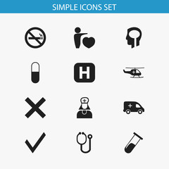 Set Of 12 Editable Health Icons. Includes Symbols Such As Test Tube, Hospital Assistant, Mark And More. Can Be Used For Web, Mobile, UI And Infographic Design.