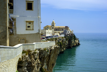 Panorama of Vieste town in Cape Gargano, Apulia, Italy