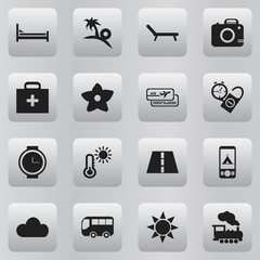 Set Of 16 Editable Journey Icons. Includes Symbols Such As Insolation, Rest Time, Mattress And More. Can Be Used For Web, Mobile, UI And Infographic Design.