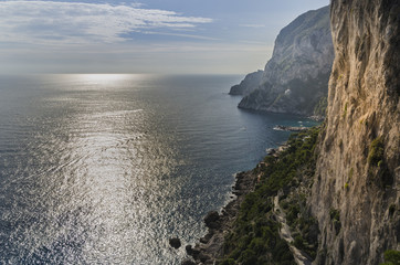 View from the cliffs on the Amalfi coast to the Tyrrhenian Sea.
