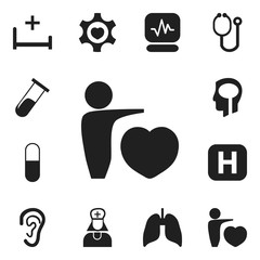 Set Of 12 Editable Health Icons. Includes Symbols Such As Pulse, Heart, Drug And More. Can Be Used For Web, Mobile, UI And Infographic Design.