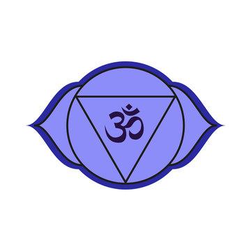 Ajna third eye chakra vector illustration