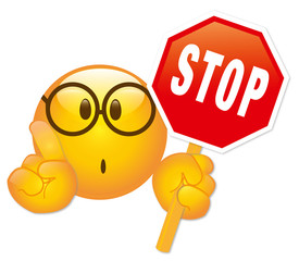Stop Smiley mit Stopschild - Vektor