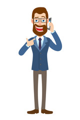 Hipster Businessman pointing his finger at the mobile phone that he talks