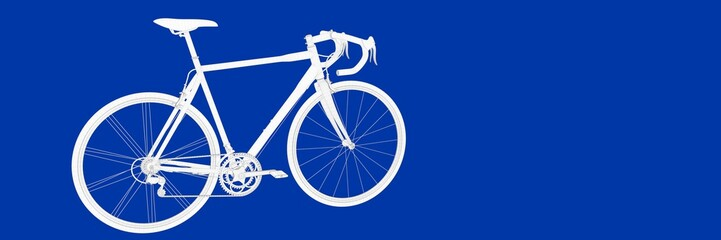 3d rendering of a bike on a blue background blueprint