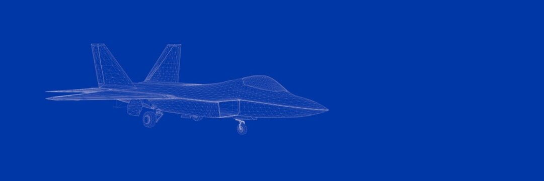 3d rendering of a fight jet on a blue background blueprint