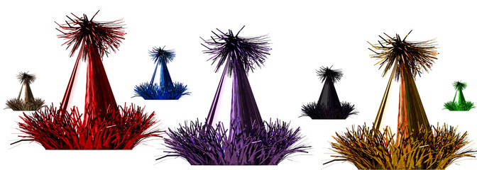 3d rendering of a color celebration hats on white
