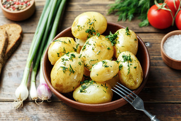 Young potato with vegetables