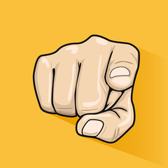 Male hand pointing finger at you over yellow background