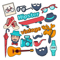 Hipster Style Vintage Doodle with Beard, Mustache and Retro Elements. Vector illustration