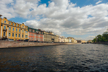 View of St. Petersburg. Moyka River in summer day