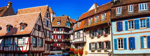 Fototapete - amazing Colmar -traditional floral town in Alsace region,France