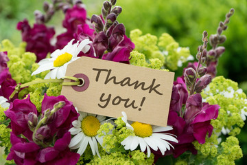Thank you / Greeting card with snapdragons, daisies and text: Thank you