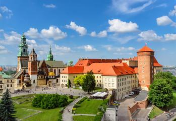 Autocollant pour porte Cracovie Krakow - Wawel castle at day. Poland Europe.