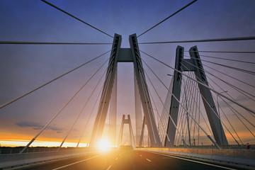 Photo sur Aluminium Pont Sunrise on the new bridge in the Cracow