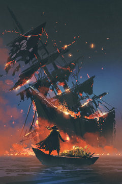 the pirate with burning torch standing on boat with treasure looking at sinking ship, digital art style, illustration painting