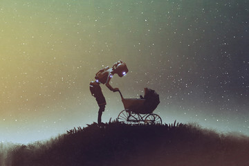 young robot looking at baby in a stroller against starry sky, digital art style, illustration painting