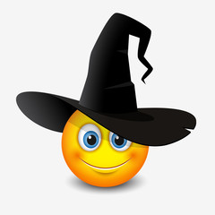 Cute emoticon wearing witch hat