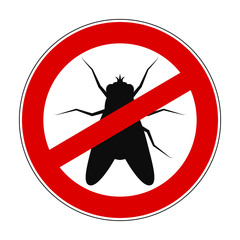 Sign ban anti fly - stock vector