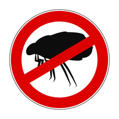 Sign ban anti mite - stock vector