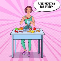 Pop Art Young Woman Making Smoothie in Blender with Fresh Fruits. Healthy Eating. Dieting Vegeterian Food. Vector illustration