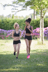 beautiful girls running outdoors