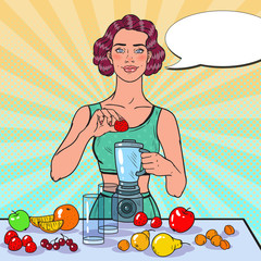 Pop Art Young Woman Making Smoothie with Fresh Fruits. Healthy Eating. Dieting Vegeterian Food Concept. Vector illustration