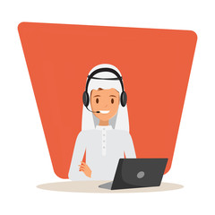 Man in call center occupation. Customer service character. Illustration vector of arab or muslim people.