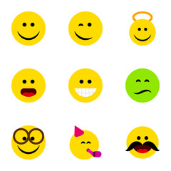 Flat Icon Expression Set Of Wonder, Frown, Grin And Other Vector Objects. Also Includes Laugh, Wonder, Party Elements.