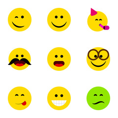 Flat Icon Gesture Set Of Wonder, Party Time Emoticon, Frown And Other Vector Objects. Also Includes Cheerful, Party, Savoring Elements.