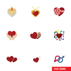Flat Icon Heart Set Of Wings, Shaped Box, Emotion And Other Vector Objects. Also Includes Care, Sign, Ribbon Elements.