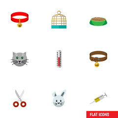 Flat Icon Animal Set Of Vaccine, Kitty Collar, Shears And Other Vector Objects. Also Includes Shears, Puppy, Collar Elements.
