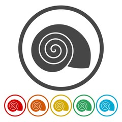 Flat Design Simple Icons set - Snail Shell - Illustration