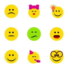 Flat Icon Face Set Of Wonder, Party Time Emoticon, Pleasant And Other Vector Objects. Also Includes Confused, Joy, Pleasant Elements.