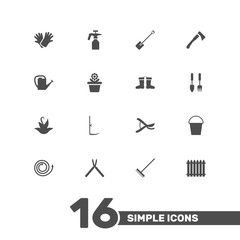Set Of 16 Farm Icons Set.Collection Of Tools, Fence, Spray Bootle And Other Elements.