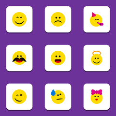 Flat Icon Gesture Set Of Tears, Smile, Sad And Other Vector Objects. Also Includes Kiss, Emoji, Whiskers Elements.