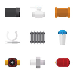Flat Icon Plumbing Set Of Tube, Connector, Pipe And Other Vector Objects. Also Includes Holder, Filter, Water Elements.