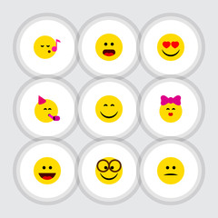 Flat Icon Emoji Set Of Wonder, Descant, Laugh And Other Vector Objects. Also Includes Smile, Laugh, Pleasant Elements.