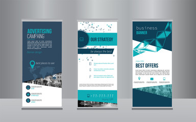Rollup banner design with simple shapes for minimalistic company promotion
