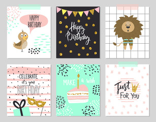 Happy birthday greeting cards and party invitation templates, vector illustration. Hand drawn style.