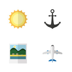 Flat Icon Season Set Of Aircraft, Ship Hook, Sunshine And Other Vector Objects. Also Includes Hook, Ship, Pictures Elements.