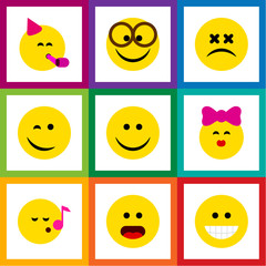Flat Icon Emoji Set Of Wonder, Grin, Descant And Other Vector Objects. Also Includes Dizzy, Face, Happy Elements.