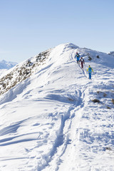 Rear view of skiers walking on snowcapped mountain