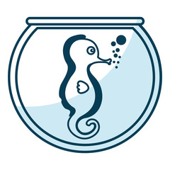 cute seahorse character icon vector illustration design