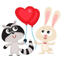 Cute, funny rabbit and raccoon holding red heart shaped balloon, cartoon vector illustration isolated on white background. Bunny and raccoon holding heart balloon, birthday greeting decoration