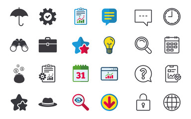 Clothing accessories icons. Umbrella and headdress hat signs. Wallet with cash coins, business case symbols. Chat, Report and Calendar signs. Stars, Statistics and Download icons. Vector