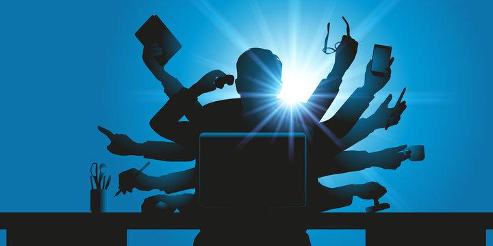 Concept de l'homme d'affaires surbooké, avec un personnage hyperactif à plusieurs bras, qui tient plusieurs objets de bureau pour symboliser le surmenage.